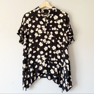Lord + Taylor Floral Ruffle Blouse Swing Size M
